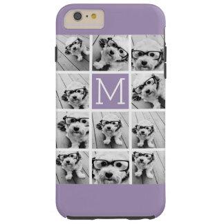 Lavender Instagram Photo Collage Custom Monogram Tough iPhone 6 Plus Case