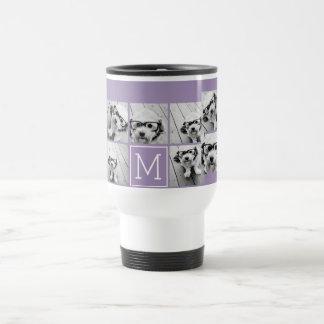 Lavender Instagram Photo Collage Custom Monogram Travel Mug
