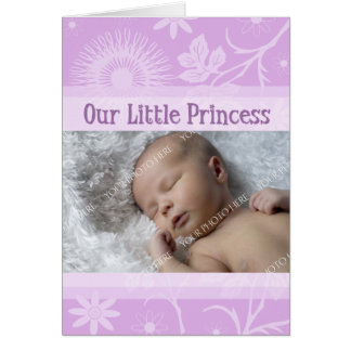 Lavender It's a Girl Photo Birth Announcement Card