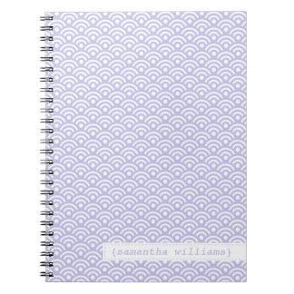 Lavender Japanese Seigaiha Pattern Spiral Notebook