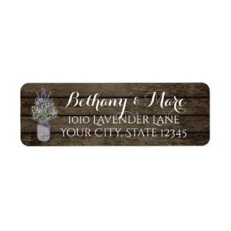 Lavender Jar and Barn Wood Address Label