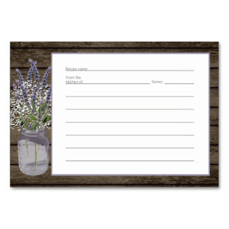 Lavender Jar Rustic Recipe Card