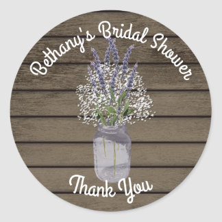 Lavender Jar with Baby's Breath Classic Round Sticker
