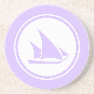 Lavender ketch sailboat nautical sandstone coaster