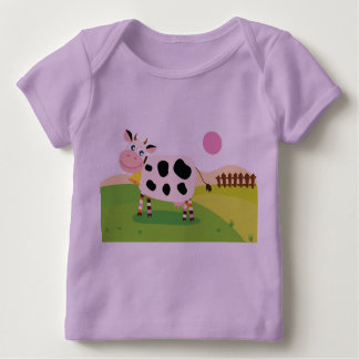 Lavender kids tshirt with Cow