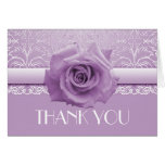 Lavender Lace Damask Beauty Rose Thank you card Greeting Cards