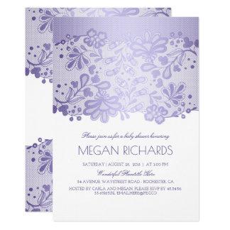 Lavender Lace Elegant Vintage White Baby Shower Card