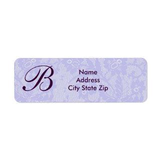 Lavender lace monogram label