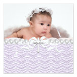 Lavender Lace Pearl Cross Christening 5.25x5.25 Square Paper Invitation Card