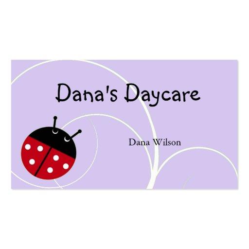 lavender ladybug daycare business card