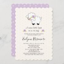 Lavender Lamb Baby Shower Invitations
