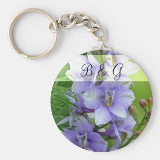 Lavender Larkspur Wedding Basic Round Button Keychain