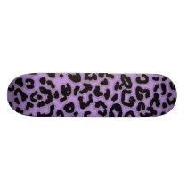Lavender Leopard Animal Print Skateboard Deck