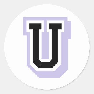 lavender letter U Classic Round Sticker