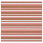 [ Thumbnail: Lavender, Light Coral, and Sienna Stripes Pattern Fabric ]