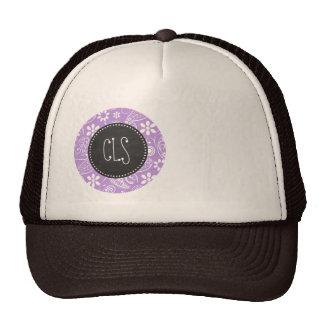 Lavender, Light Purple Paisley; Chalkboard look Trucker Hat