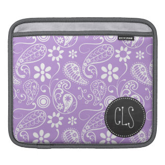 Lavender, Light Purple Paisley; Chalkboard look iPad Sleeve