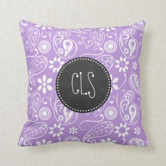 Lavender, Light Purple Paisley; Chalkboard look Pillow