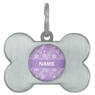 Lavender, Light Purple Paisley Pet Name Tags