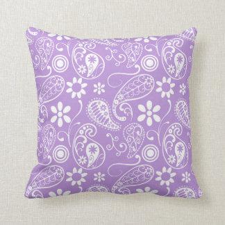 Lavender, Light Purple Paisley Throw Pillow