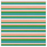[ Thumbnail: Lavender, Light Salmon, Green & Dark Cyan Lines Fabric ]