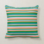 [ Thumbnail: Lavender, Light Salmon, Green & Dark Cyan Lines Throw Pillow ]