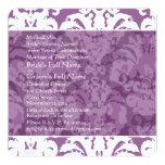 """Lavender Lilac Damask Wedding Invitation 5.25"""" Square Invitation Card"""