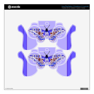 Lavender-Lilac Purple Butterfly Art Design PS3 Controller Skins