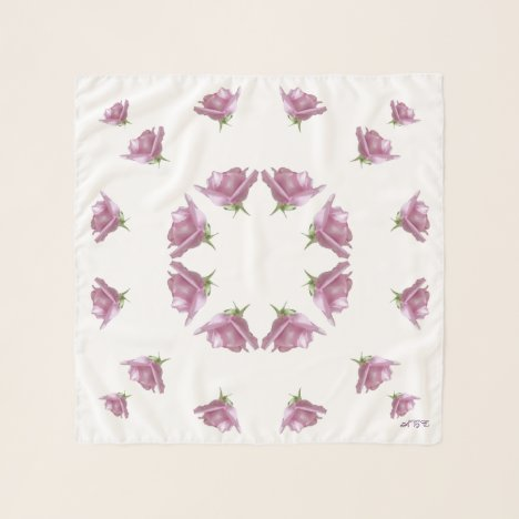 Lavender Lilac Roses Monogram Square Chiffon Scarf