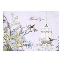 Lavender Lilac vintage birdcage birds wedding Card