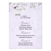 Lavender Lilac vintage birdcage birds wedding Card