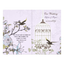 Lavender Lilac vintage birdcage birds wedding Flyer