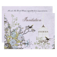Lavender Lilac vintage birdcage birds wedding Invitation
