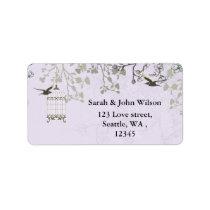 Lavender Lilac vintage birdcage birds wedding Label