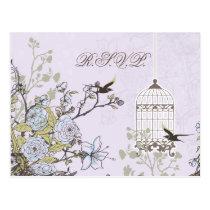 Lavender Lilac vintage birdcage birds wedding Postcard