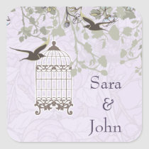 Lavender Lilac vintage birdcage birds wedding Square Sticker
