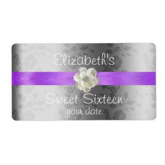 Lavender/Lilac Wedding Wine/Water Bottle Label