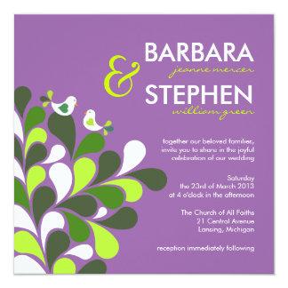 Lavender & Lime Lovebirds Wedding Invitations
