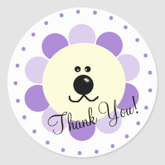 Lavender Lion-Baby Shower Favor Round Sticker