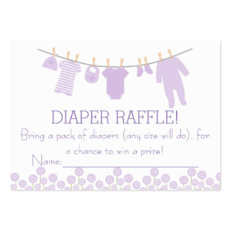 Lavender Little Clothes Diaper Raffle Tickets Large Business Cards (Pack Of 100)