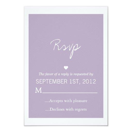 Lavender Love Design Wedding RSVP Cards Invites