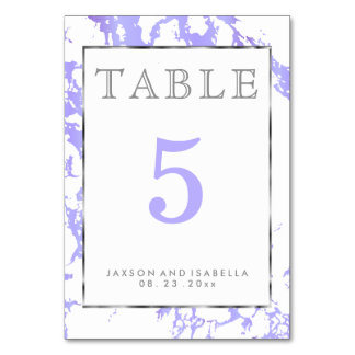 Lavender Marble, Silver & White - Table Card