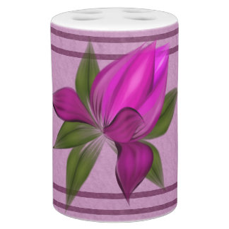 Lavender Mauve with Fucshia Blooms Soap Dispenser And Toothbrush Holder