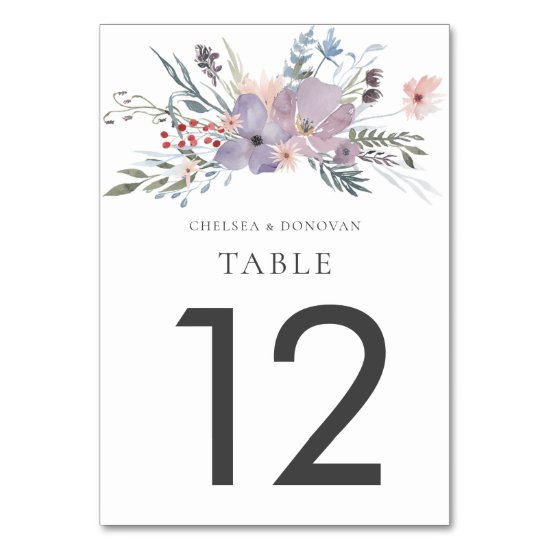 Lavender Meadow Wildflowers Table Cards