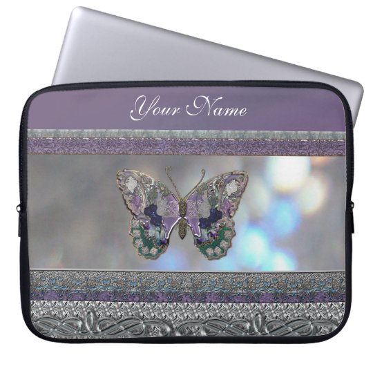 Lavender Metallic Glitter Butterfly Laptop Sleeve