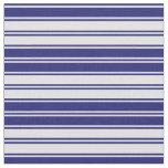[ Thumbnail: Lavender & Midnight Blue Stripes Pattern Fabric ]