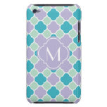 Lavender Mint and Turquoise Quatrefoil Pattern iPod Case-Mate Case