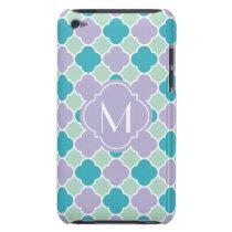 Lavender Mint and Turquoise Quatrefoil Pattern iPod Touch Case-Mate Case