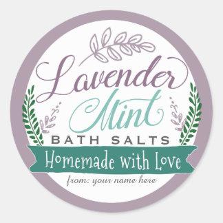 Lavender Mint Bath Salt Labels for Homemade gift