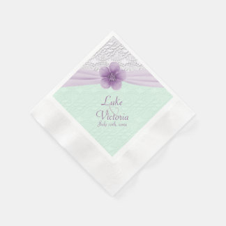 Lavender & Mint Green Romantic Flower & Lace Coined Cocktail Napkin